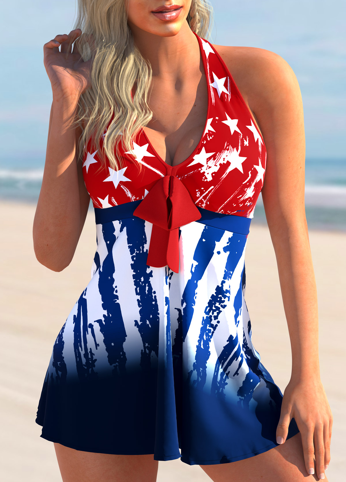 ROTITA Bowknot American Flag Print Tankini Set