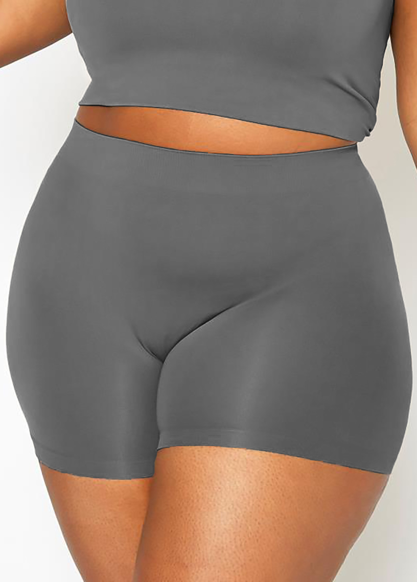 ROTITA High Waisted Plus Size Solid Swim Shorts