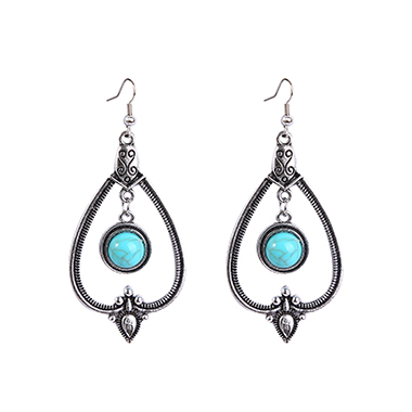 Metal Design Turquoise Detail Earring Set