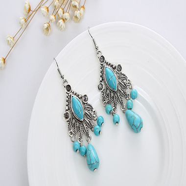 Metal Turquoise Water Drop Design Earring Set
