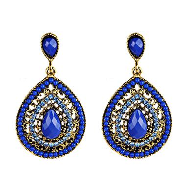 Sapphire Water Drop Design Earring Set