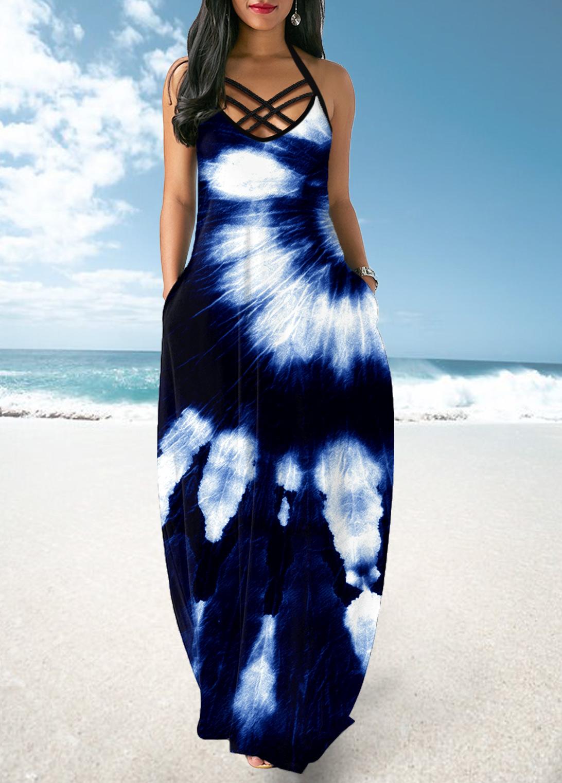 ROTITA Halter Cross Strap Tie Dye Print Dress