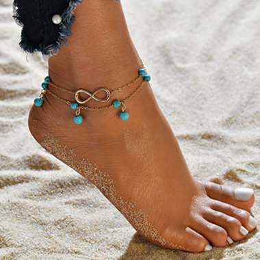 Metal Detail Turquoise Design Double Anklet