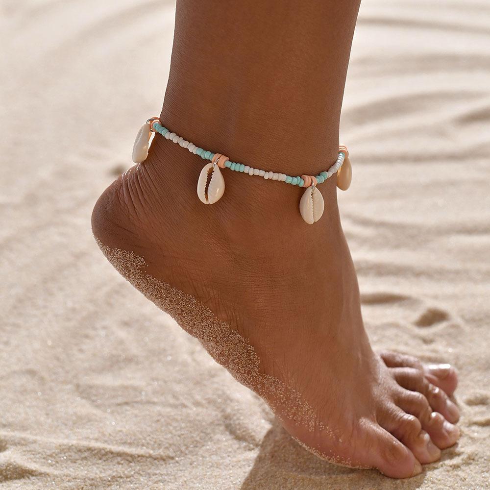 Bohemian Shell Design Beads Beige Anklet