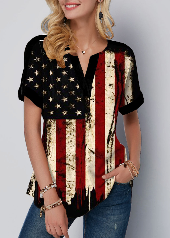 ROTITA American Flag Print Split Neck Short Sleeve Blouse