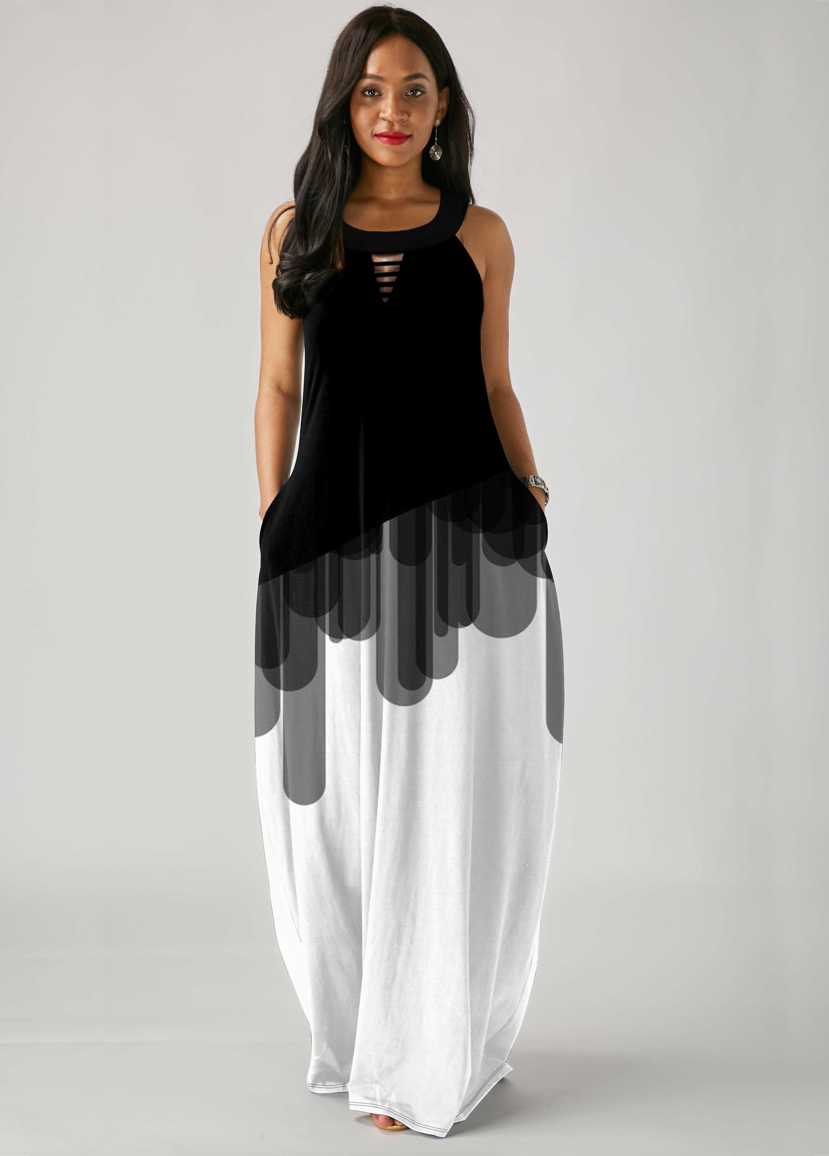 ROTITA Ladder Cutout Color Block Sleeveless Dress
