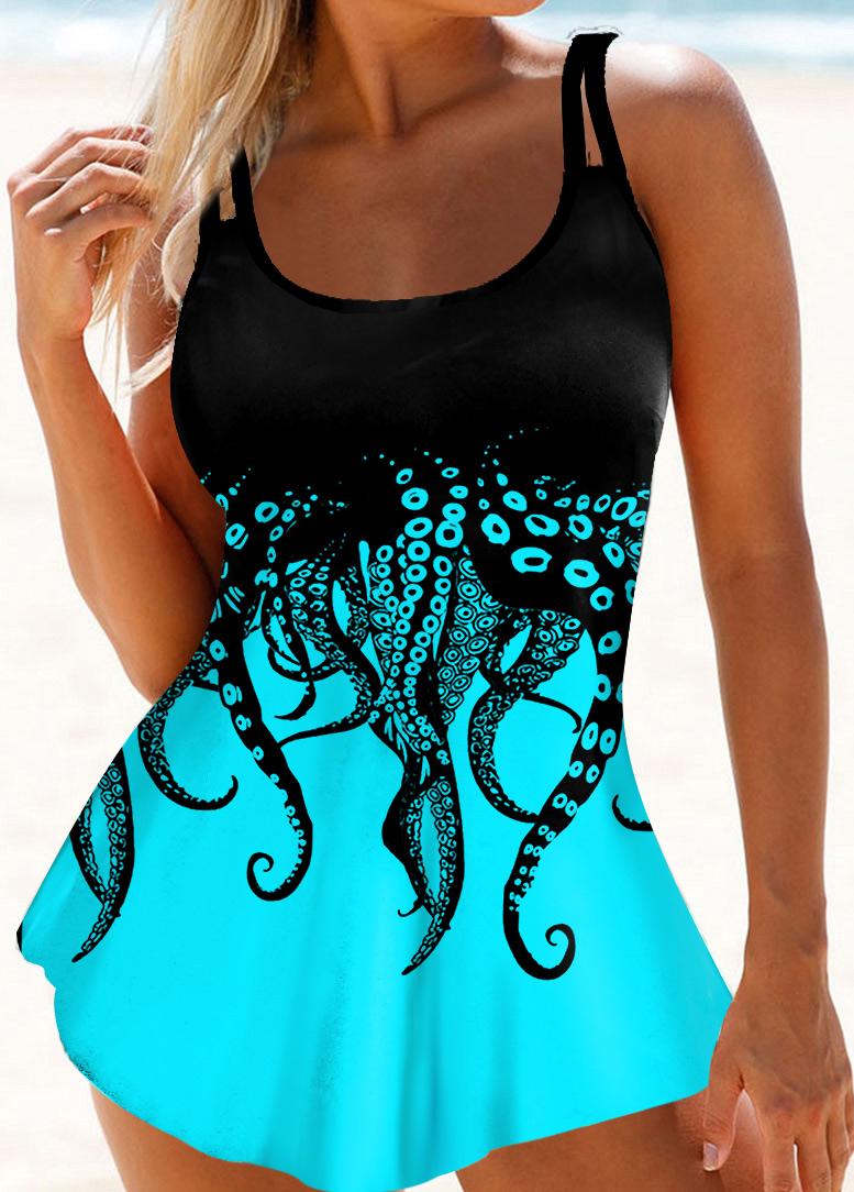 ROTITA Spaghetti Strap Octopus Print Swimdress and Panty