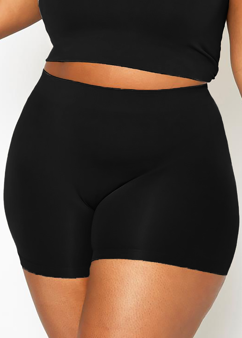 ROTITA High Waist Plus Size Solid Swim Shorts