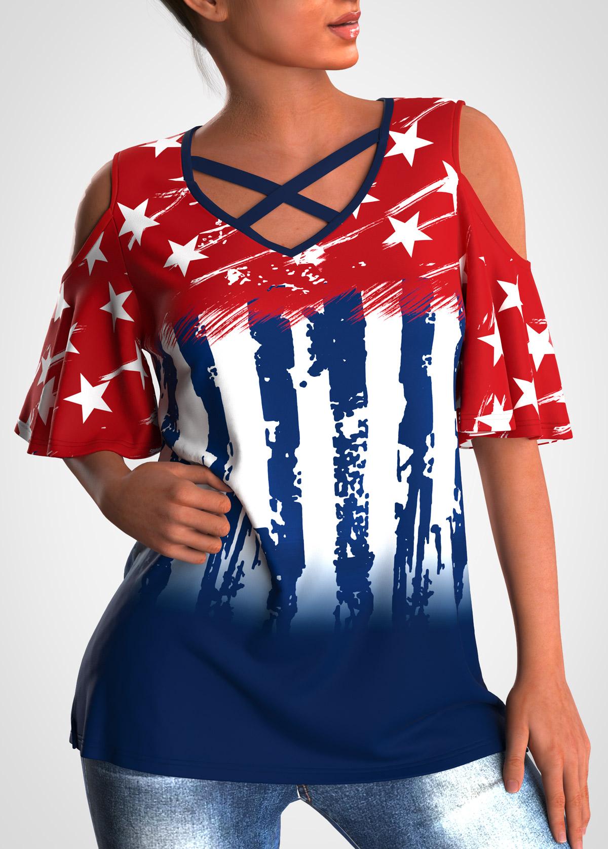 ROTITA Cold Shoulder American Flag Print Cross Strap T Shirt