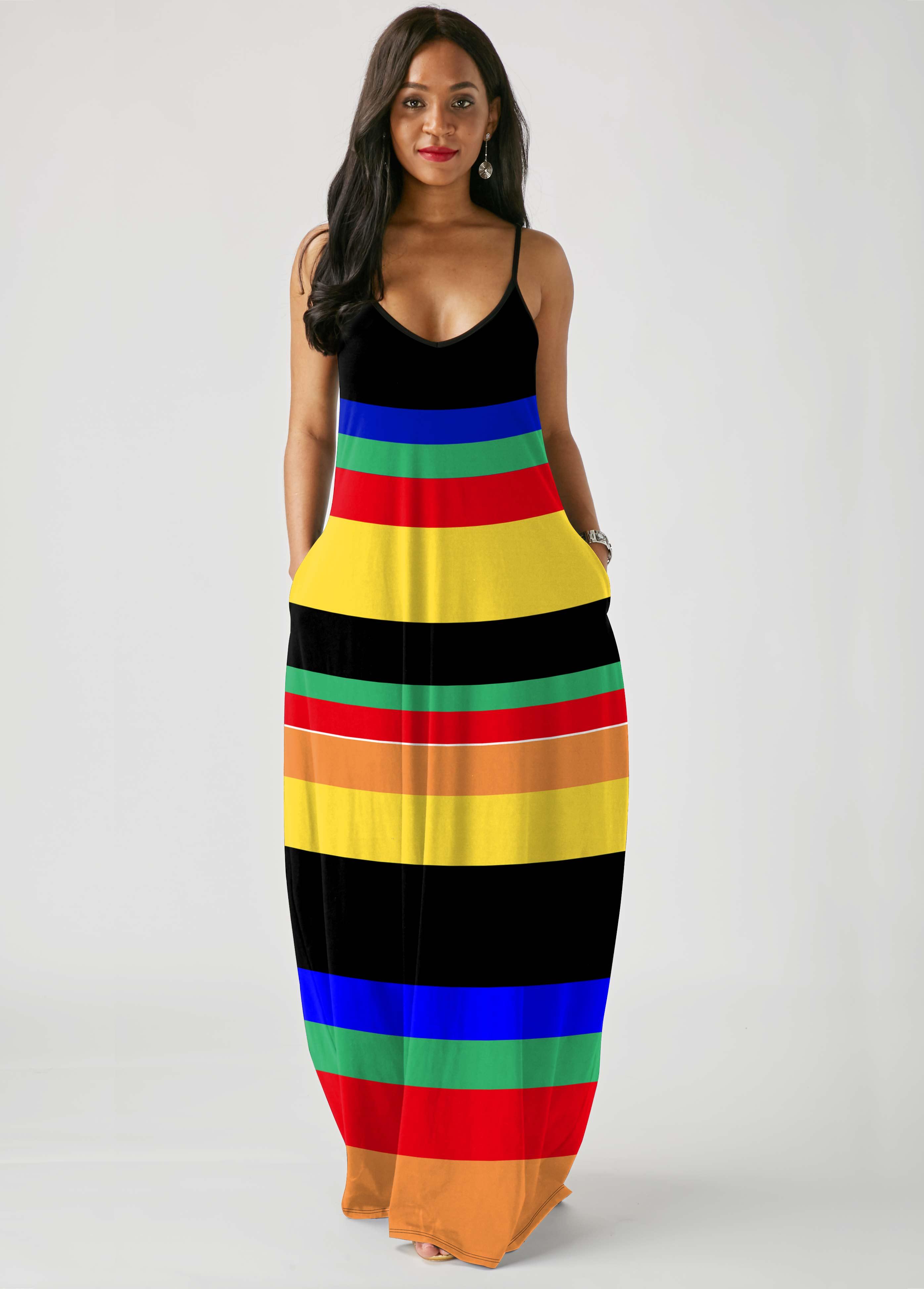 ROTITA Spaghetti Strap Rainbow Stripe Pocket Maxi Dress