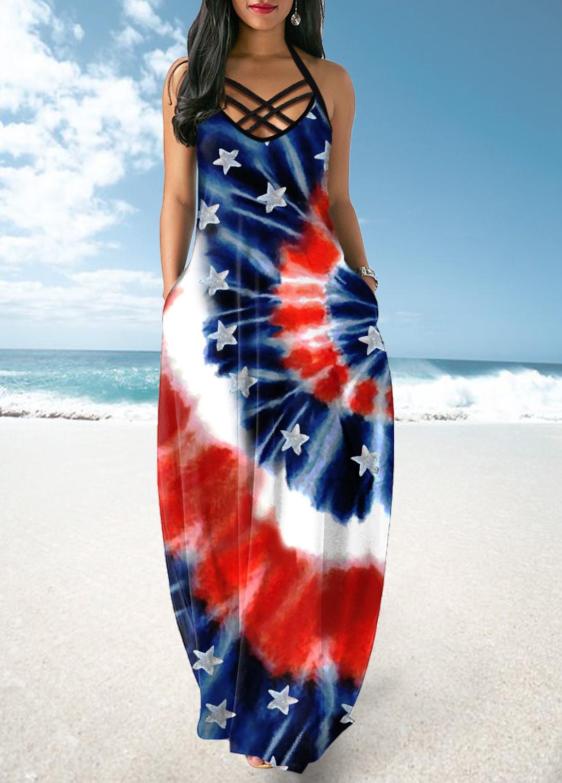 ROTITA Cross Strap Tie Dye and American Flag Print Maxi Dress