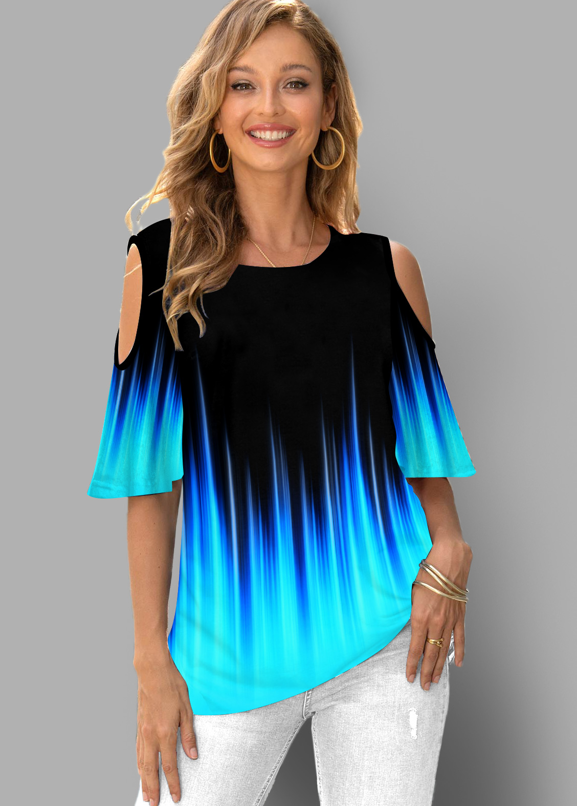 ROTITA Cold Shoulder Colorful Ombre Half Sleeve T Shirt