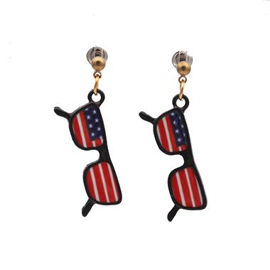 Eyeglasses Design American Flag Print Earring Set