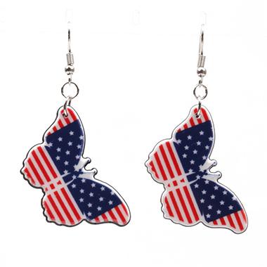 Butterfly Deaisn American Flag Print Earring Set