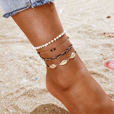 Weave Detail Conch Design Metal Anklets