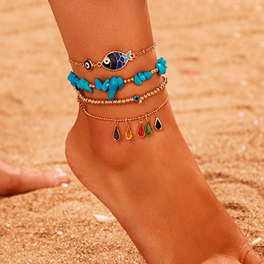 Turquoise Fish Design Water Drop Anklets