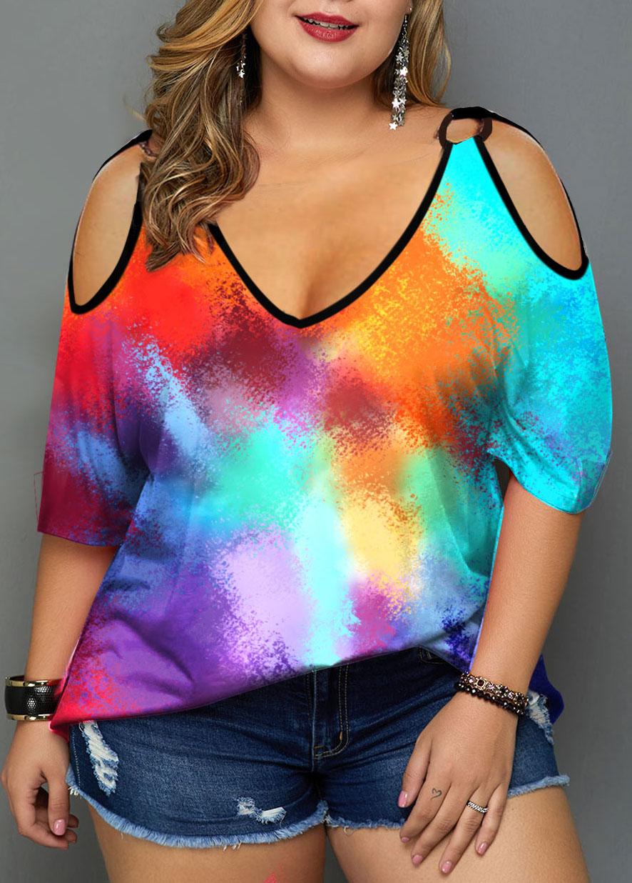 ROTITA Cold Shoulder Multicolor Tie Dye Print Plus Size T Shirt