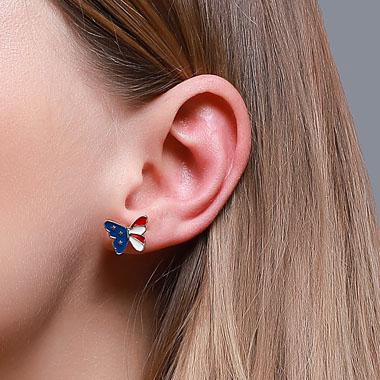 Butterfly Design American Flag Print Earring Set