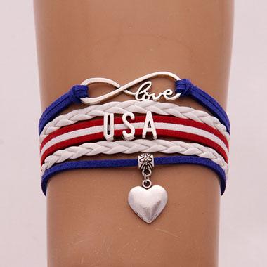 Letter Design American Flag Weave Bracelet