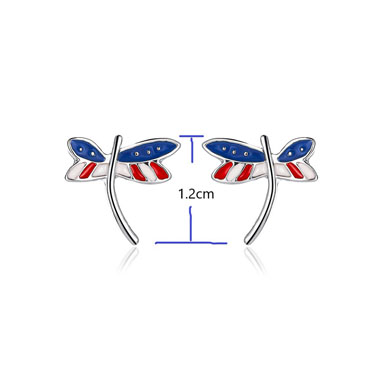 Dragonfly Design American Flag Print Earring Set