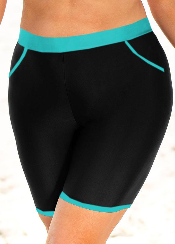 ROTITA High Waisted Plus Size Contrast Stitch Swim Shorts