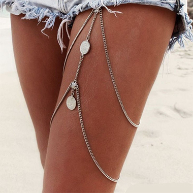 Layered Detail Silver Coin Design Body Chain