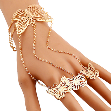 Metal Detail Butterfly Design Gold Bracelet
