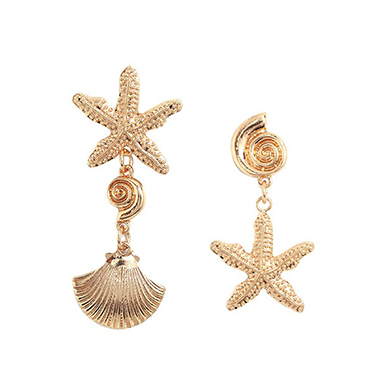 Gold Metal Detail Shell and Starfish Design Earring Set