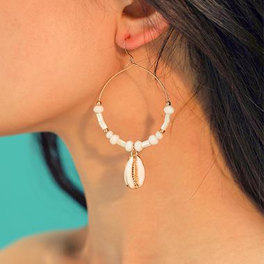 Shell Design Bohemian Beads Detail Earring Set