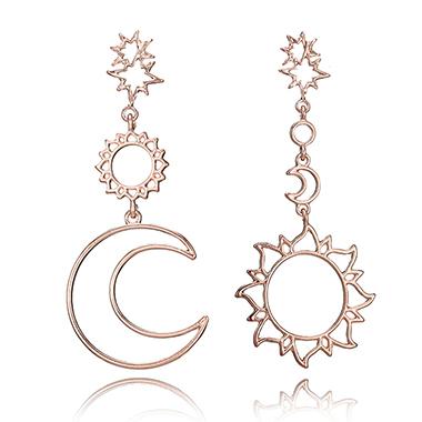 Hollow Detail Sun and Moon Design Gold Earring Set