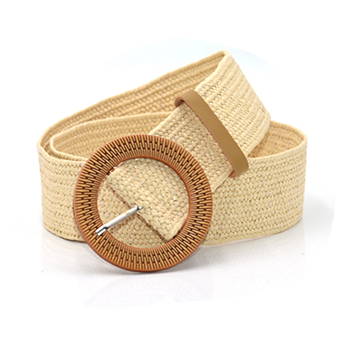 Wide Weave Design Vintage Round Buckle Belt