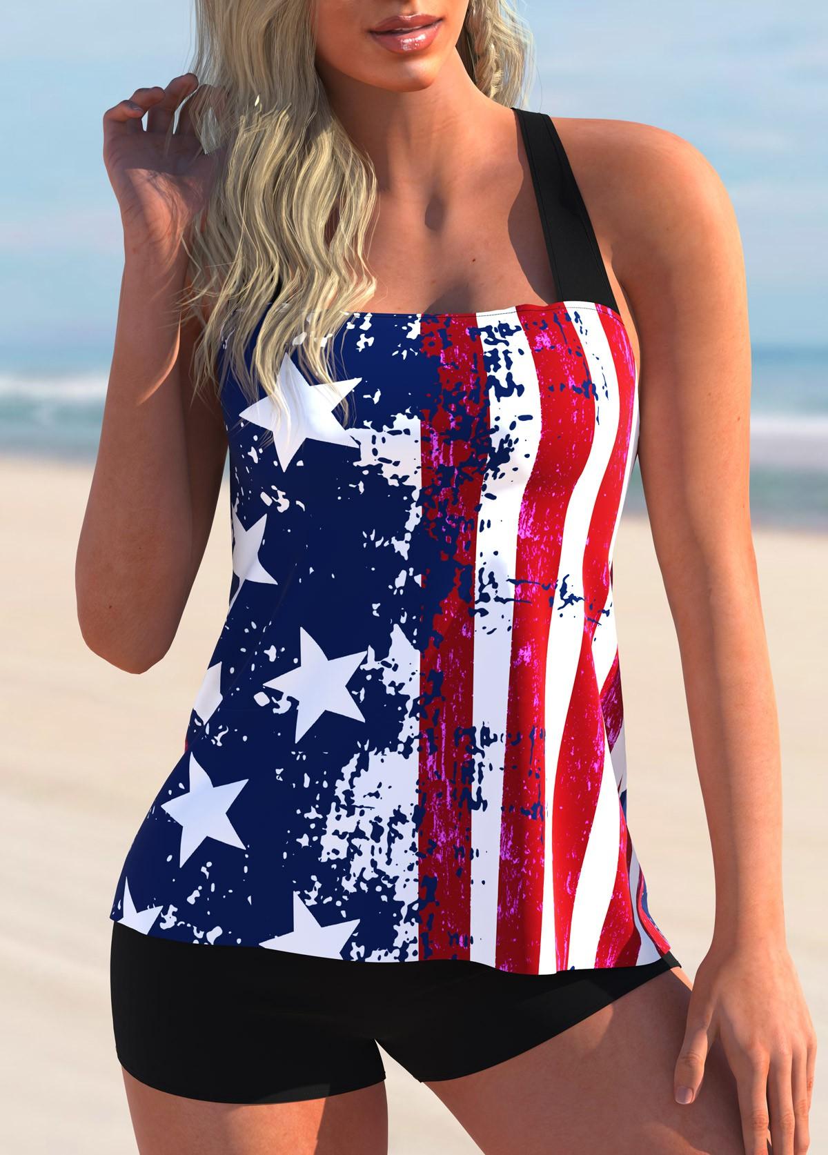 ROTITA Cross Strap American Flag Print Tankini Set
