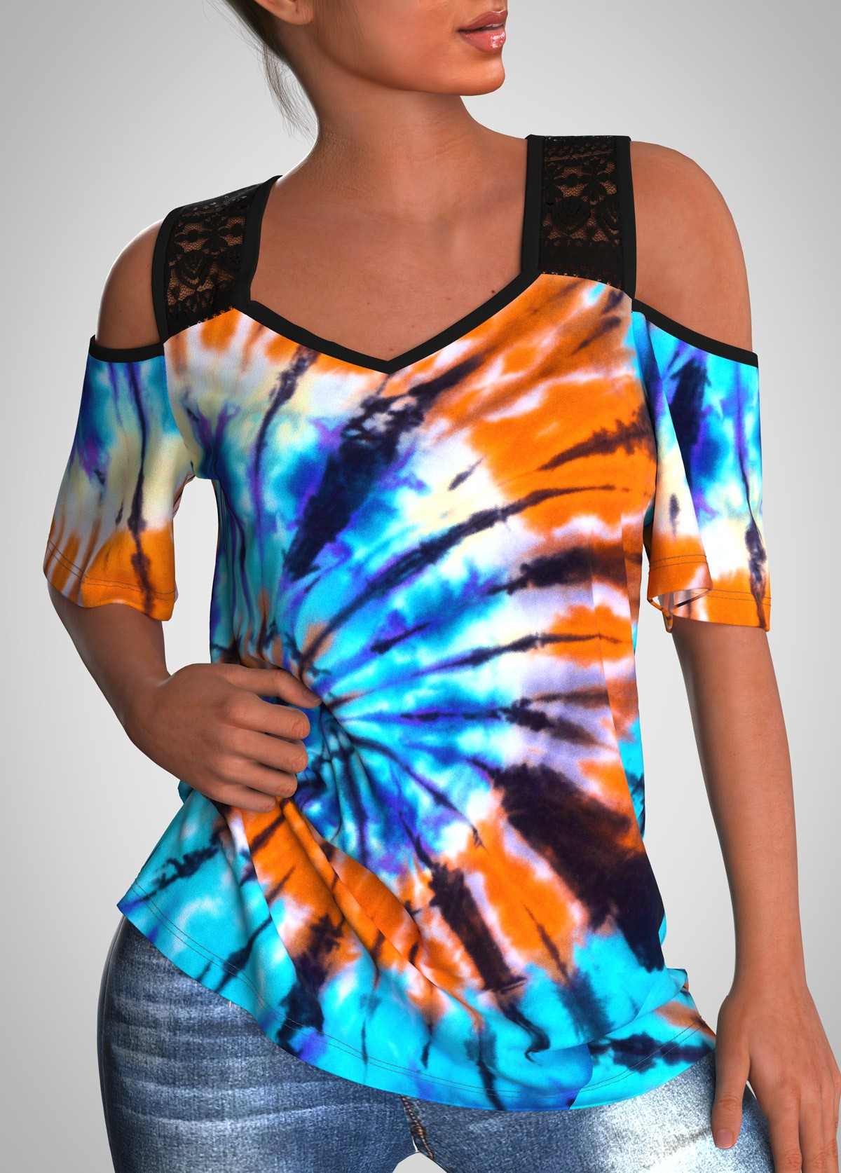 ROTITA Lace Stitching Tie Dye Print Half Sleeve T Shirt