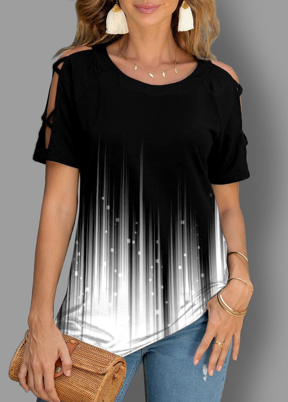 ROTITA Short Sleeve Ombre Cutout Detail T Shirt