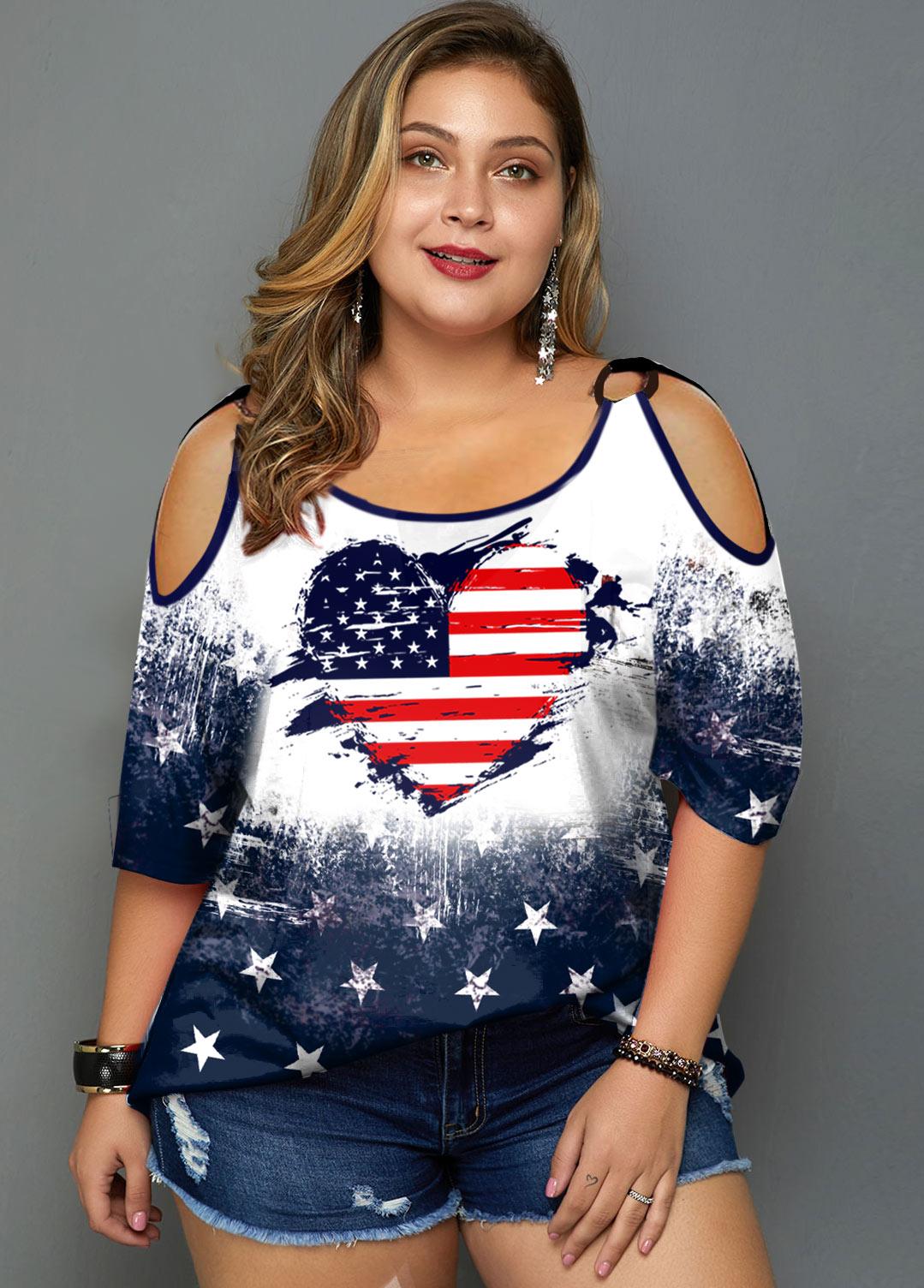 ROTITA American Flag and Heart Print Plus Size T Shirt