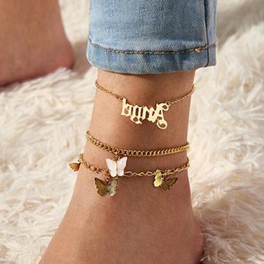 Gold Metal Detail Butterfly Design Anklets