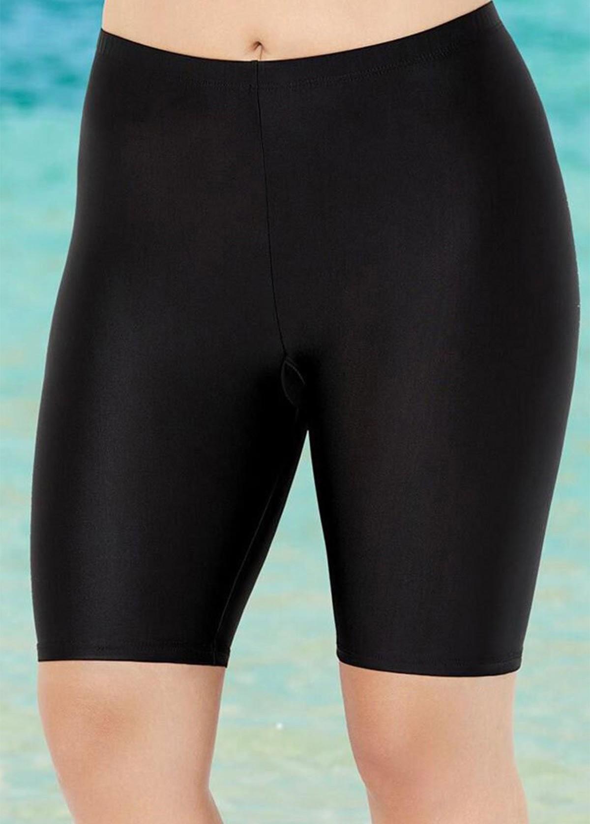 Solid Plus Size Mid Waist Swimwear Bottom