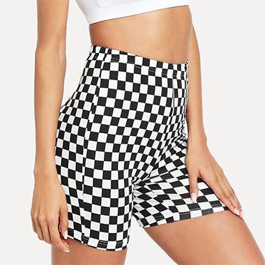 High Waist Plaid Print Skinny Shorts