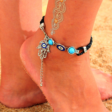 Weave Turquoise and Eye Design Metal Anklet