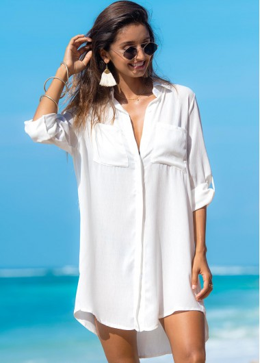 ROTITA Double Pocket Turndown Collar Solid Cover Up
