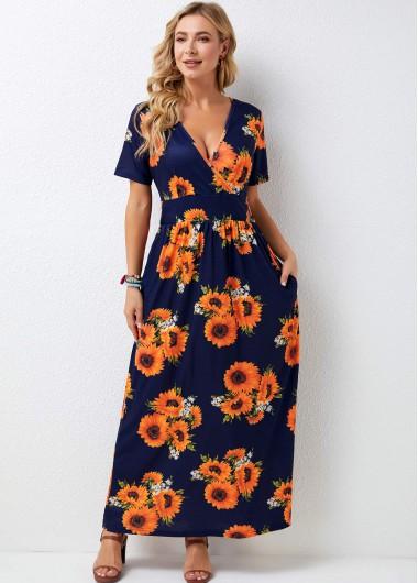 Rotita / Short Sleeve V Neck Sunflower Print Maxi Dress