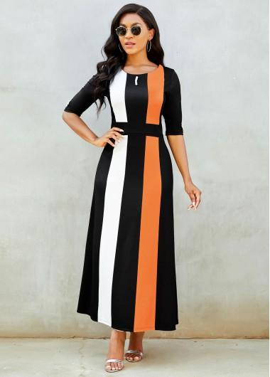 Rotita / Color Block Button Detail Round Neck Dress