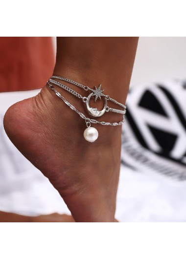 Pearl Design Moon and Star Pendant Anklet