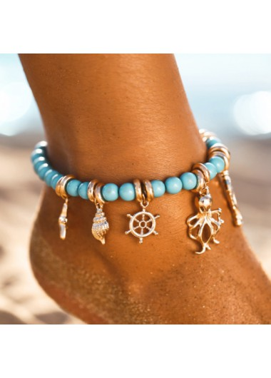 Metal Detail Conch Rudder and Octopus Pendant Anklet