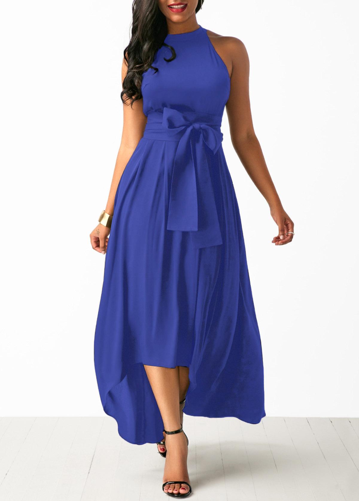 ROTITA Royal Blue Cardigan and Belted Asymmetric Hem Dress