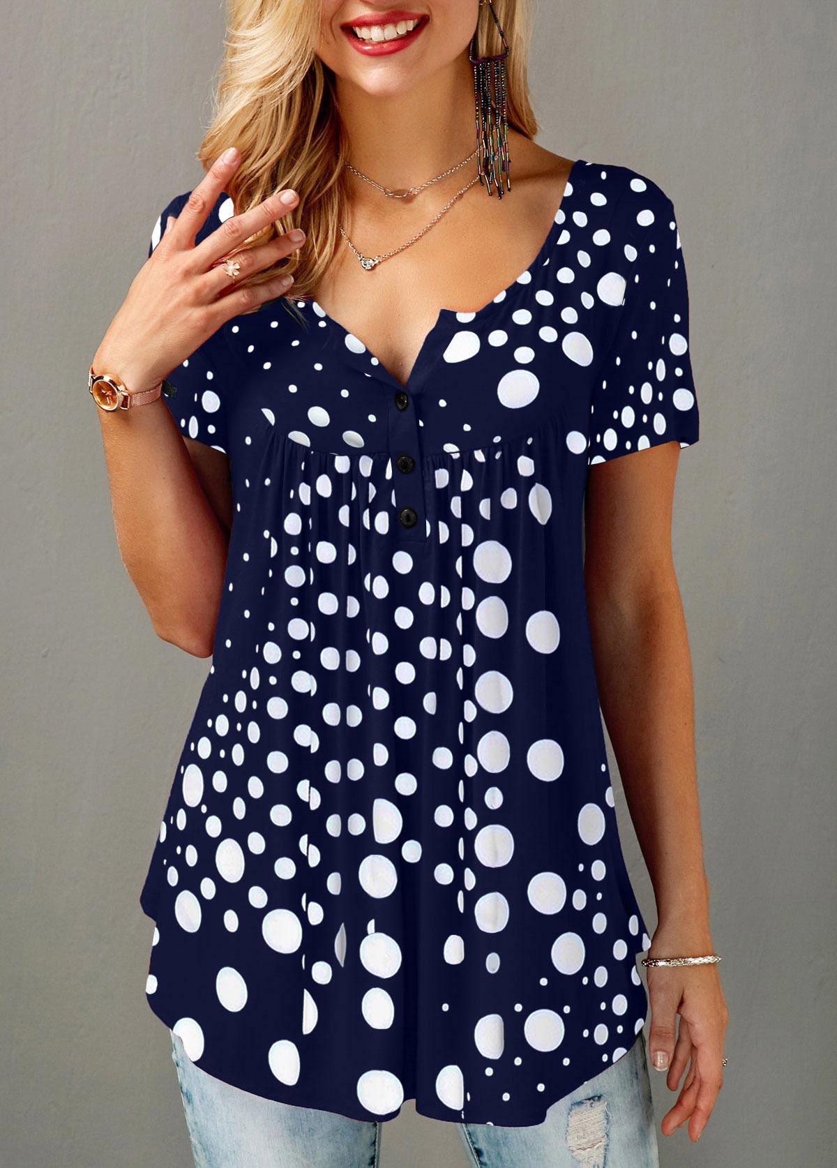 ROTITA Button Front Short Sleeve Dot Print Blouse