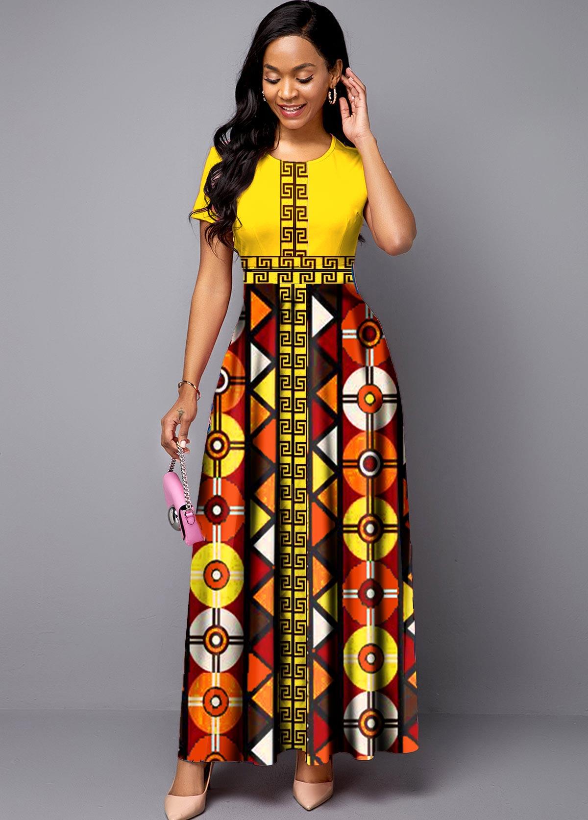 ROTITA Short Sleeve Bohemian Print Round Neck Maxi Dress