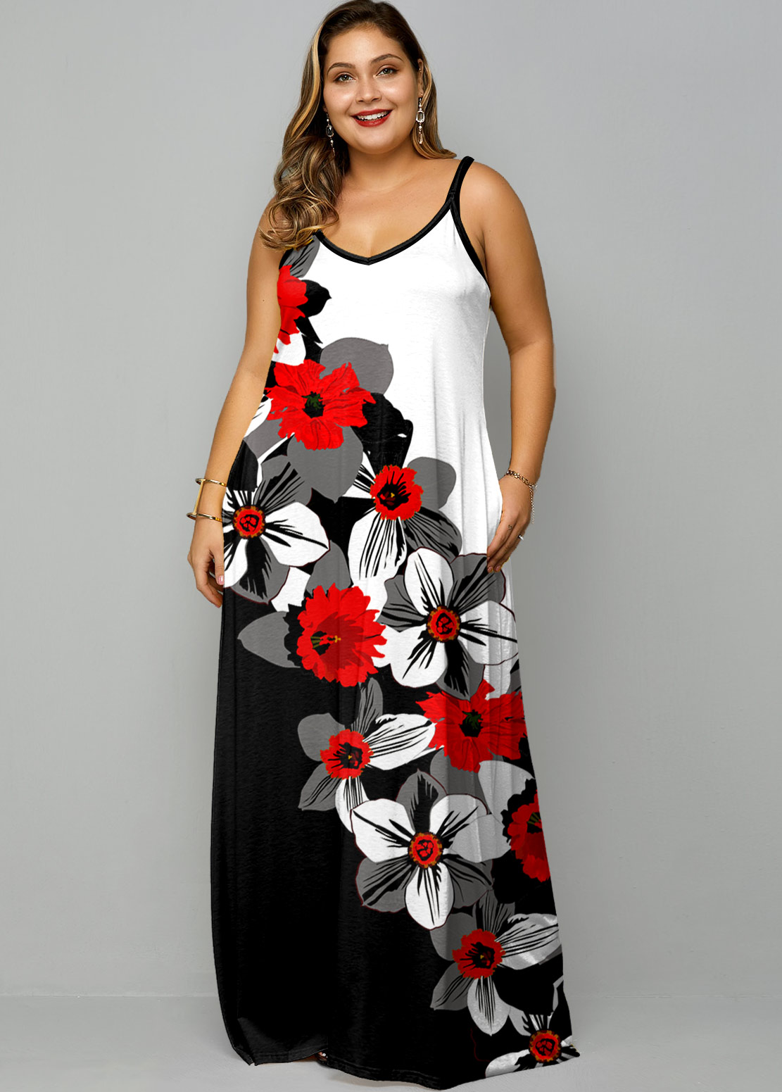 ROTITA Plus Size Spaghetti Strap Floral Print Maxi Dress