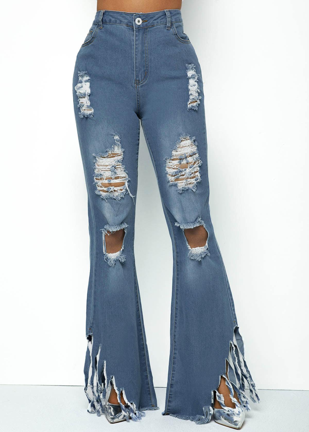 Shredded Frayed Hem Acid Washed Flare Jeans