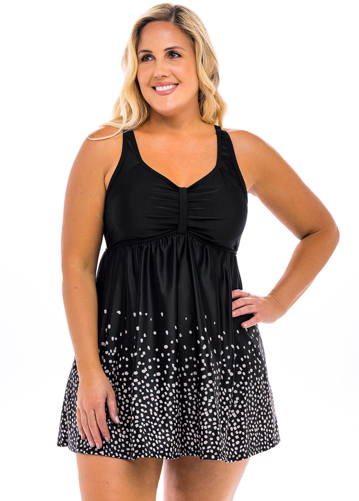 ROTITA Polka Dot Plus Size Swimdress and Shorts